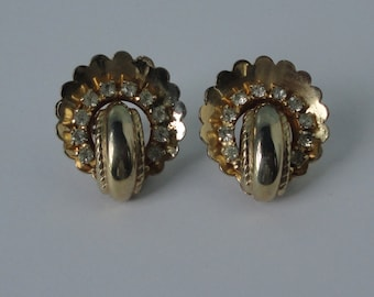 Coro Gold tone with clear rhinestones Earrings