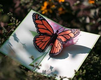 Butterfly Pop Up Card, Summer Butterfly Pop Up Card, Monarch Butterfly 3D Pop Up Card, Monarch Butterfly card, Summer butterfly card