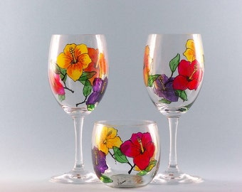 Hand Painted Hibiscus Wine Glasses and Votive Holder - Hibiscus Wine Glass Gift Set