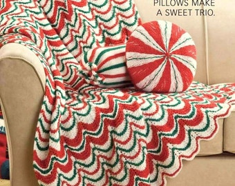 INSTANT DOWNLOAD PDF Vintage Knitting Pattern for Christmas Candy Afghan and Cushion Pillow Bolster Throw