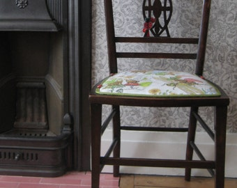 Arts and Crafts Occasional Chair, Professionally Traditionally Upholstered in Vintage Children's Fabric by Ledward & Co