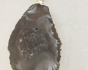 Brazilian Agate with Druzy Center Pendant with Silver Plating