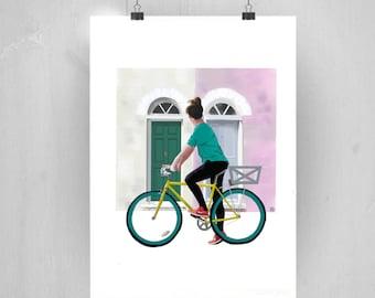 impresión bicicleta, ilustración puerta London, puerta rosa, decoración bicicleta, ilustración digital, arte de paret, descarga directa