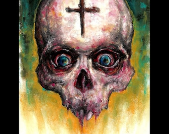 "Print 8x10"" - Untitled #2 - Dark Art Horror Skull Zombie Death Cross Blood Macabre Gothic Teeth Curio Lowbrow Monster Creepy Scary Blood"
