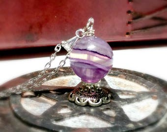 Fluorite Necklace, Crystal Ball, Goddess Jewelry, Fortune Teller, Metaphysical Jewelry, Pagan, Wiccan, Oracle, Divination, Seer, Gypsy Magic