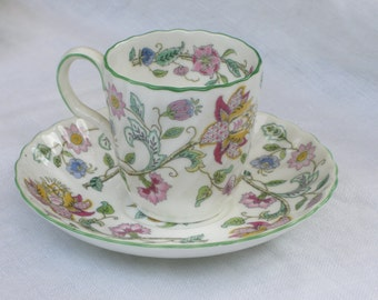 "Cup and Saucer - Demitasse - Minton China - ""Haddon Hall"" - Vintage"