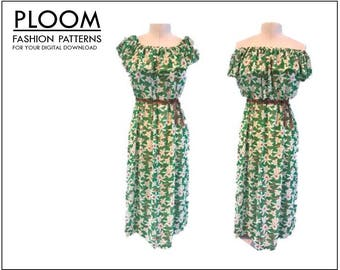 Off The Shoulder Dress & Top digital PDF sewing pattern for ladies woman girls. Easy for summer