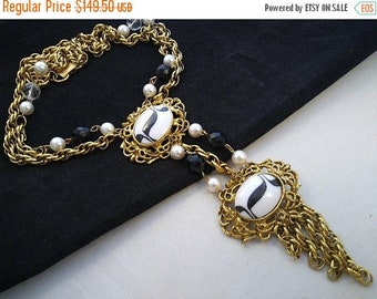 ON SALE Goldette Signed Necklace, 1950's 1960's Statement Jewelry, Old Hollywood Glam, Gift Idea For Her, Runway Necklace