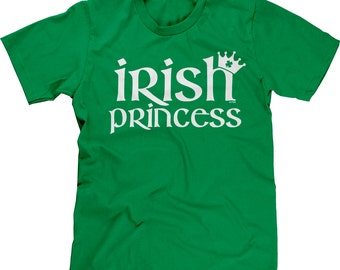 Irish Princess with Four 4 Leaf Clover Crown - St Patricks Day Pride Shamrock Proud Festival Parade Lucky Lass Charm - Mens Tee - RS-00716