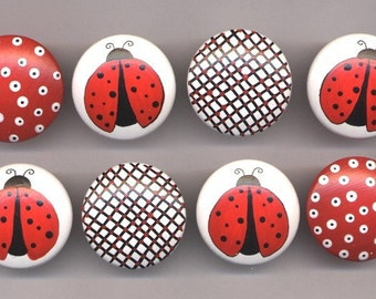 Set of 8 - LADY BUGS and DOTS - Hand Painted Wooden Dresser Knobs/Pulls - Great for Baby Nursery or Little Girl's Room