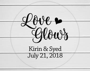 Love Glows Wedding or Engagement Favor Stickers, Transparent Wedding Stickers, Transparent Engagement Stickers (#343-C)