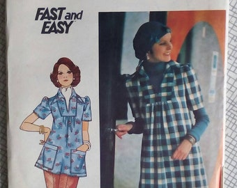 """1970s Top & Dress - 34"""" Bust - Butterick 4352 - Vintage Sewing Pattern"""