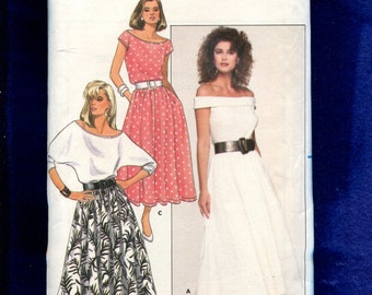 1980's Butterick 5660 Sultery Off Shoulder Tops & Flared Skirt Size 12..14..16 UNCUT