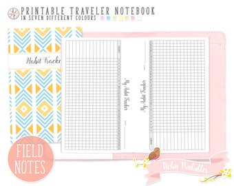 Pocket Monthly Habit Tracker Traveler Notebook Refill Field Notes Printable TN PDF for Personal Use. Small Routine Log, Weekly Goals Inserts