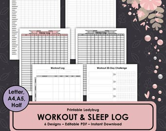 Workout Log,Sleep Log,Workout Planner,Exercise Log,Fitness Planner,Sleep Chart,Workout Journal,Exercise Journal,Bullet Journal,Sleep Tracker