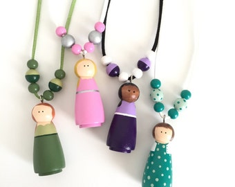 Custom Look-a-Like Peg Doll Necklace - Wooden Bead Necklace - Girls Necklace