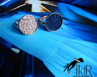 rose gold ring covered in blue pink leather