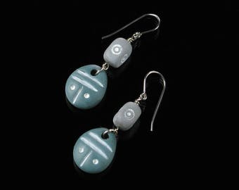 African Earrings, Blue & Gray Tribal Earrings, African Jewelry, Ethnic Earrings, Unique Tribal Jewelry, Silver Earrings, Valentine Gift