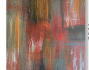 Orange and Gray Abstract Painting, Orange Abstract Wall Art, Gray and Orange Original Orange Abstract, Bold Abstract, Gray and Orange Art