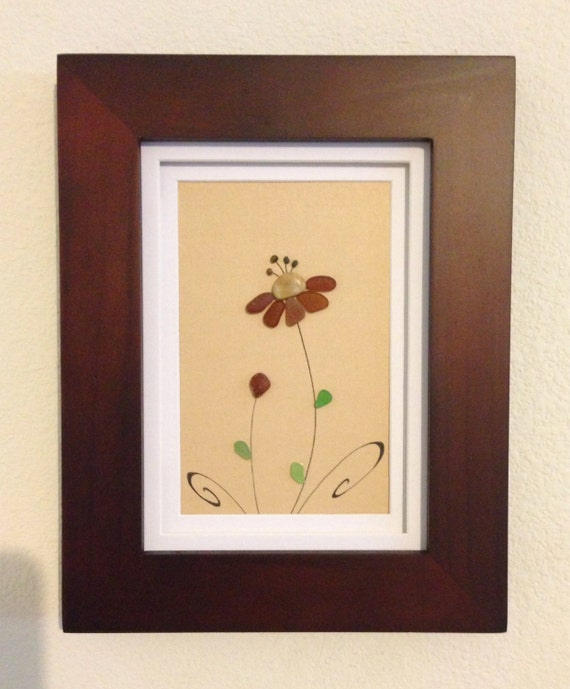 Brown and green sea glass art pebble art flower framed art