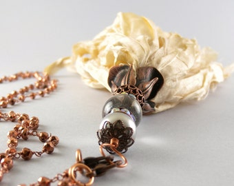 Copper Bohemian Recycled Vanilla Sari Silk Tassel Detachable Pendant Long Necklace #recycledsarisilk