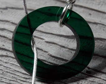 Green Circles Drop Necklace - Snake Chain - Lariat Necklace - green statement pendant