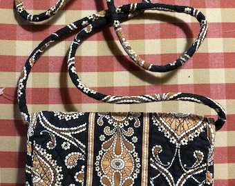 French Country Vera Bradley pattern french Caffe Latte wallet purse with Strap crossbody