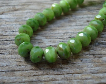 7x5 lime green rondelle beads, czech glass rondelles, light green beads