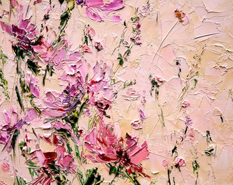 Impasto painting palette knife painting art flowers orange flower painting oil palette knife painting on canvas peony painting abstract flowers living room wall art light pink flowers painting oil mightylinksfo