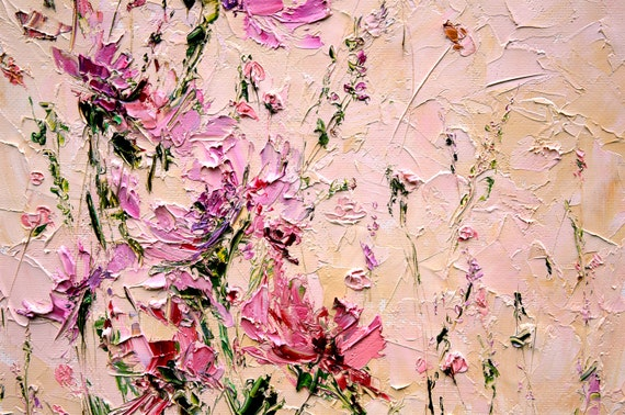 Flower painting oil palette knife painting on canvas peony mightylinksfo
