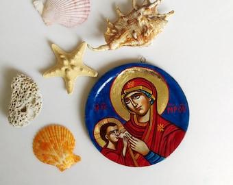 Nursing Madonna, small round handpainted icon, Church of St Lucia, Sassi di Matera - 4 1/3 inches