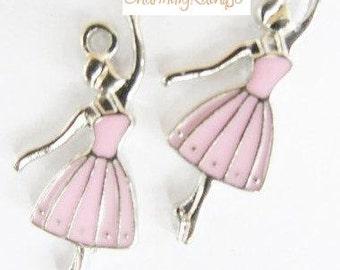 5 Pieces Pink Enamel Ballerina Pendants