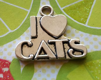 Cat Charms - 10 pcs.  - Silver Cat Charms - I Heart Cats Charm - I Love Cats Charm - Kitty Charms -  Antique Silver - Animal Charm