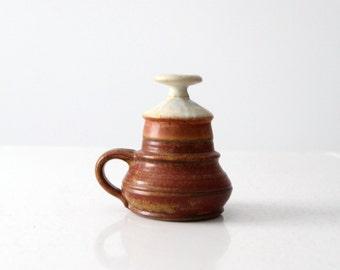 Piatt studio pottery oil lamp, vintage ceramic candle