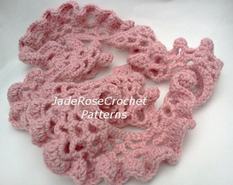 Crochet Scarf Pattern, Ruffled Skinny Scarf Crochet Pattern, Long PDF217