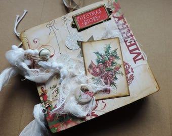 photo album shabby, Christmas mini scrapbook album. Hand made