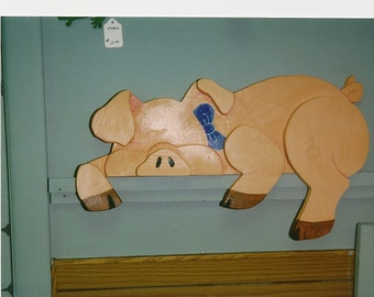 Handmade custom painted Pig fence sitter