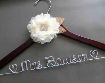 RUSTIC Wedding Hanger, Burlap and Lace Hanger, Ivory Flower Hanger, Mrs Hanger, Custom Bride Hanger, Last Name Hanger, Wedding Dress Hanger