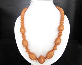 Lucite Bead Necklace Butterscotch Tan Color 18 - 21 Inches