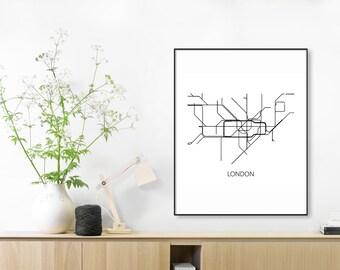 London Subway Map Print,London Metro Map Poster,London Art,London Map Art,Subway Map,Subway Poster Art,London Subway,London Tube Map,METRO