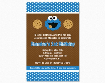 Cookie Monster Birthday Party Invitation, Cookie Monster Party, Blue, Brown, White, Printable Invitation