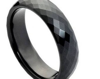 Black IP Faceted Ring – 6mm