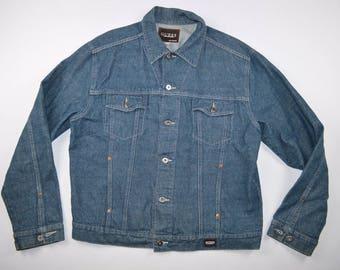 90s GUESS Spell Out Full Button Denim Jean Jacket Coat Blue Mens 2XL, Vintage Guess Denim Jean Jacket, Vintage Jean Jacket, Retro Jacket