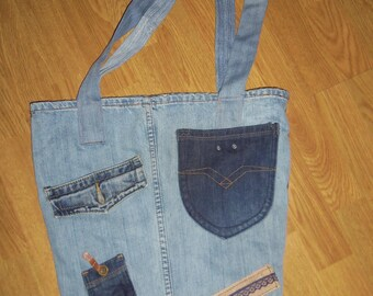 sac en jeans fait main et doublé