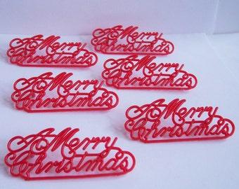6 Merry Christmas Script Small Cake Cupcake Plaques