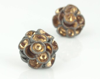 Flower Porcelain Stud Earrings Khao-Lak ∙ Gold Gray Statement Flowers on 14ct Gold Filled Studs ∙ Porcelain Jewelry ∙ Ceramic Jewellery