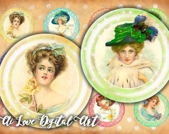 Digital collage sheet round cabochon, shabby chic Vintage Ladies, 1 inch circle digital, 1.5 inch, 30mm, 20mm