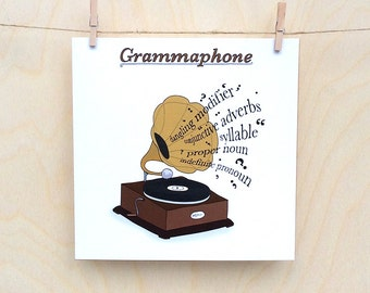 Funny Gramophone Card, Funny card, funny greetings card, funny Celebration card, funny birthday card, Spelling card
