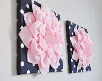 Navy Light Pink WALL ART, Bathroom Artwork, Bedroom Pictures, Flower Wall Art, Home Decor, Flower Art, Dahlia Set of 2 Prints Or Canvas