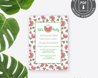 Summer BBQ Invitation, Summer birthday Party Invitation, printable Summer Party Invitation, Watermelon Invitation, picnic invitation, SS1